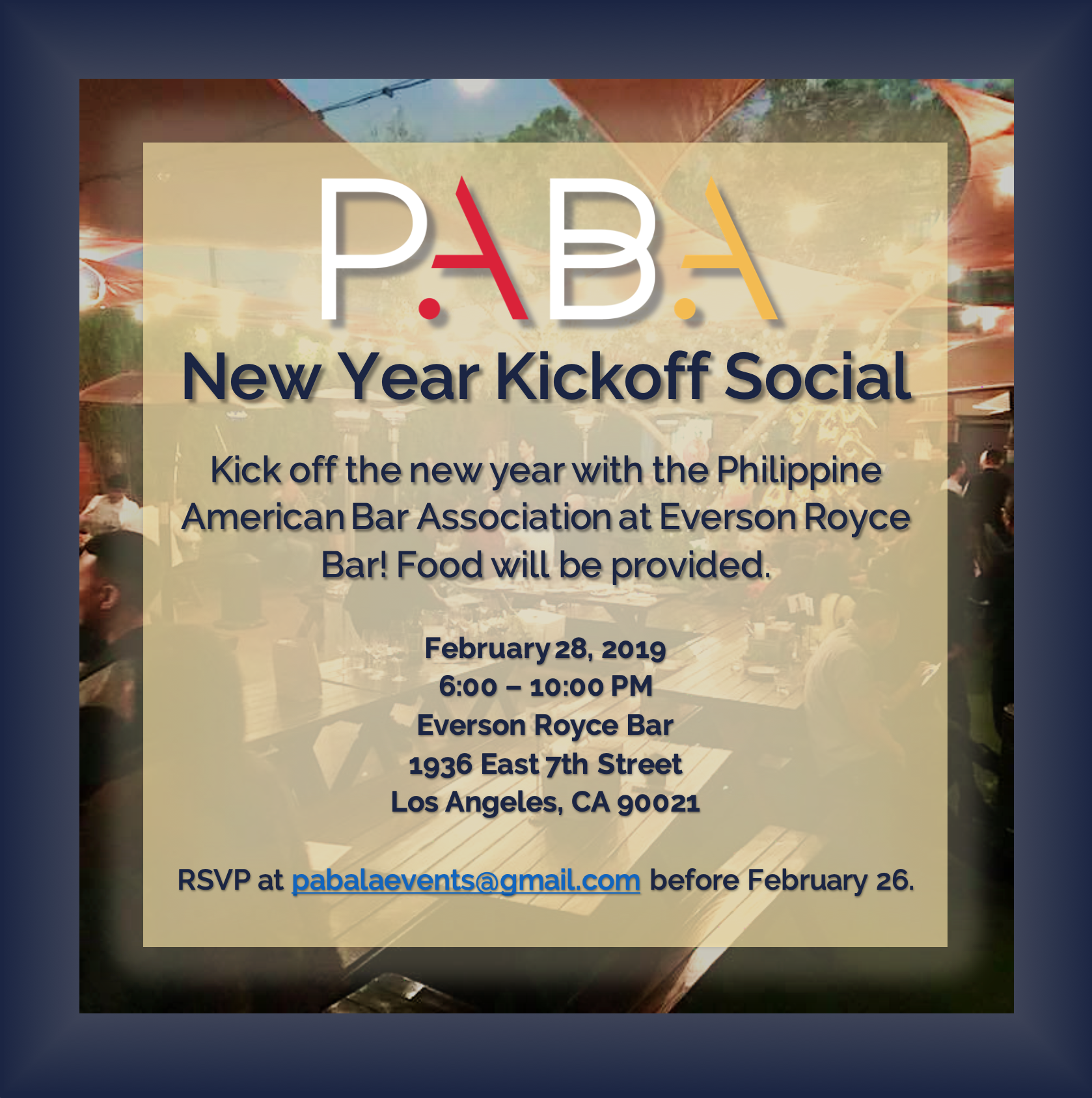 February 28 – PABA's 2019 New Year Kickoff Social!