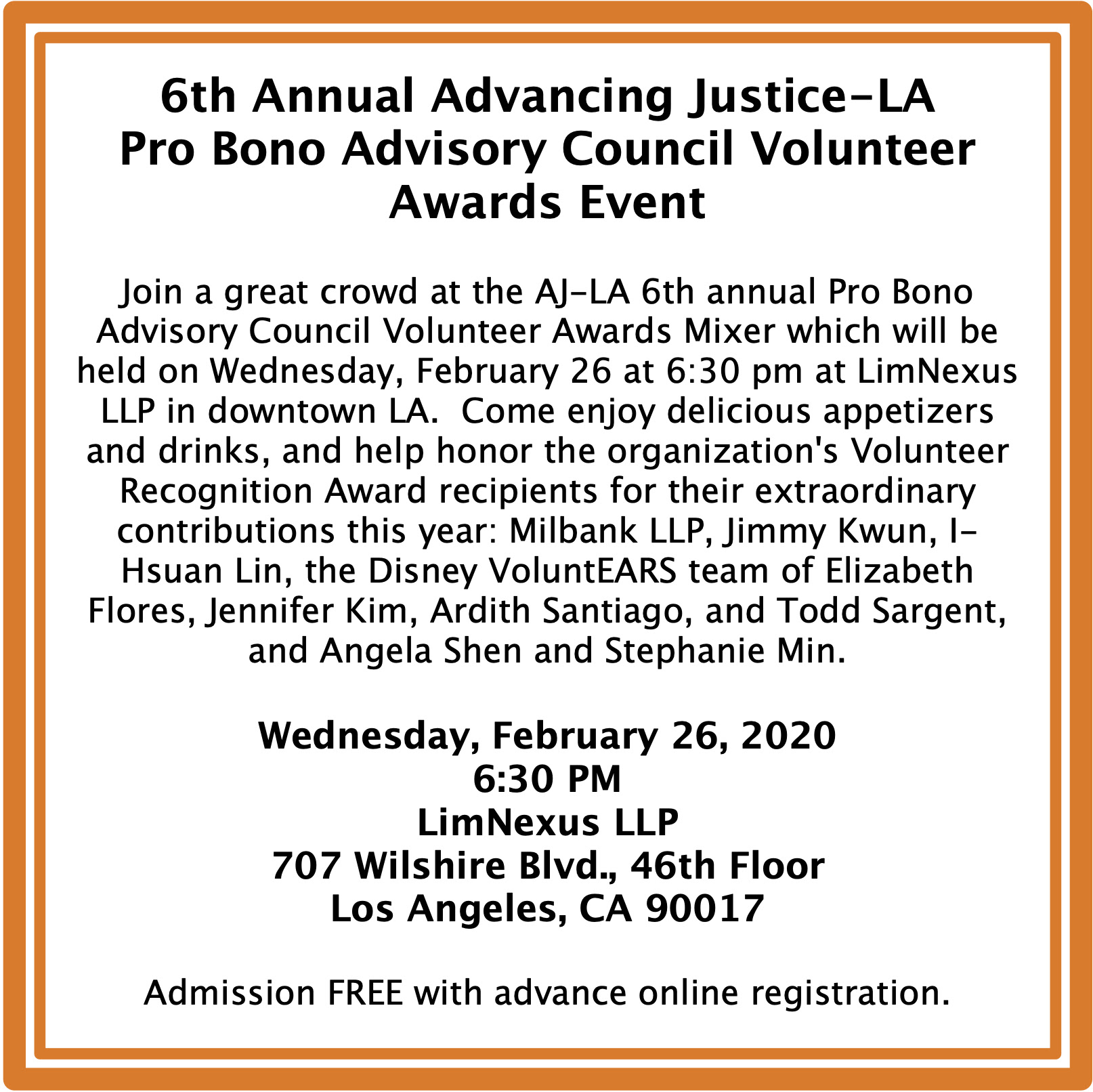 Affiliate Event – Feb 26 – 6th Annual Pro Bono Volunteer Awards Mixer