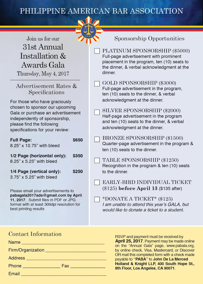 PABA's 31st Annual Installation & Awards Gala – Ticketing & SponsorshipInformation