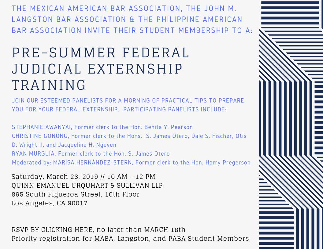 March 23 – Pre-Summer Federal Judicial Externship Training