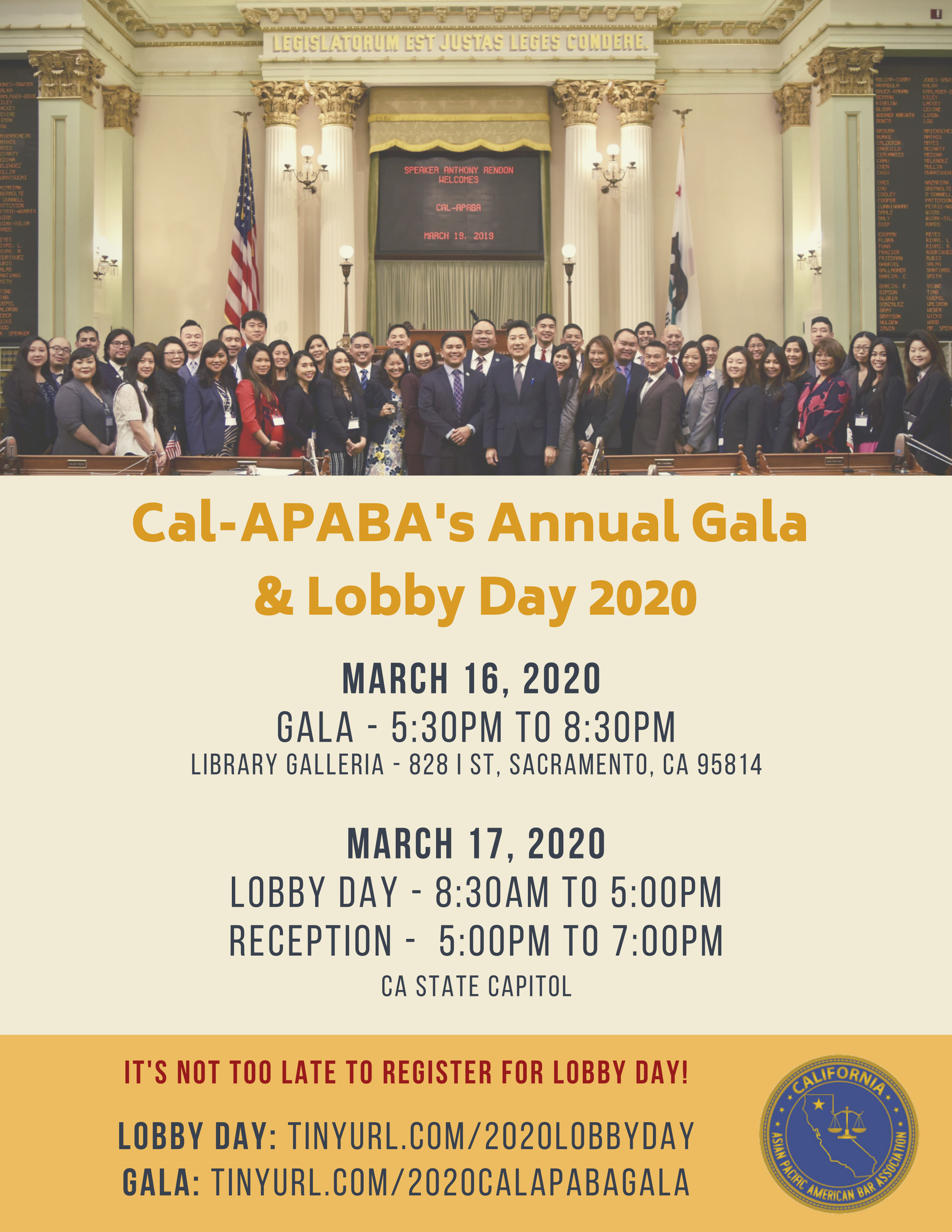 Affiliate Event – Mar 16 to 17 – Cal-APABA Gala and Lobby Day